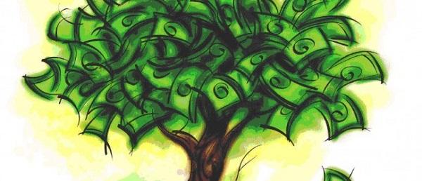 денежное дерево из долларов