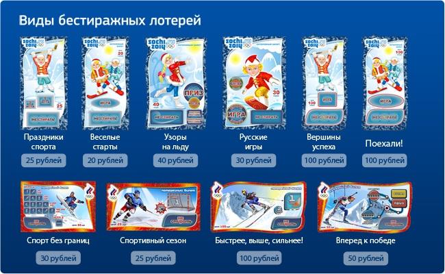 виды лотерей в России - моментальные бестиражные лотереи спортлото